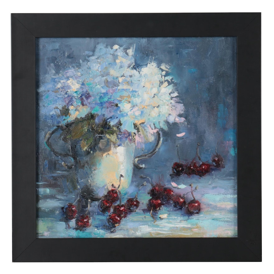 """Kate Ansolis Oil Painting """"Still Life With Cherries,"""" 2021"""