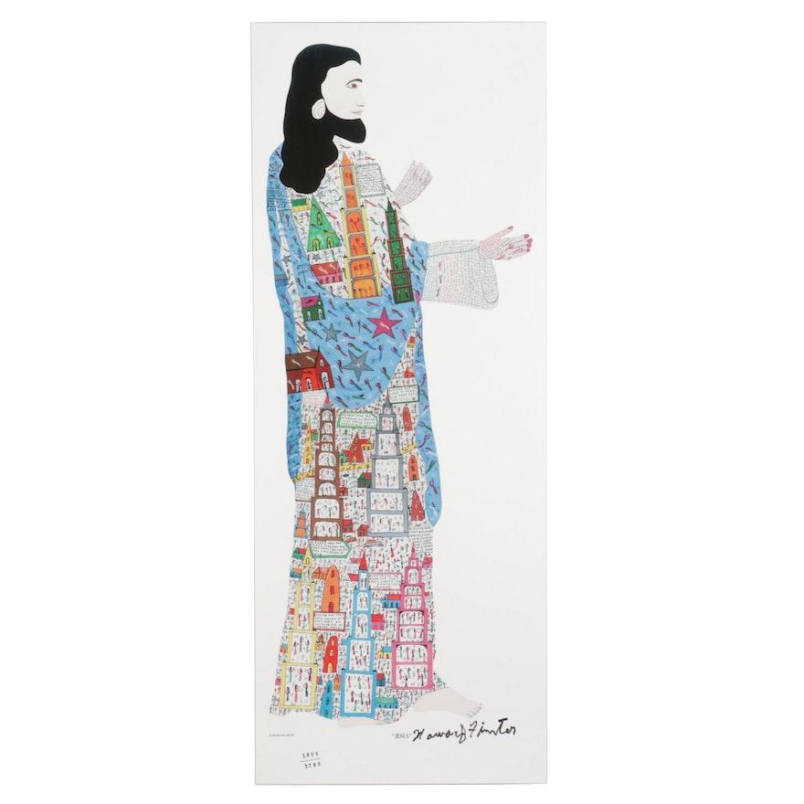 "Howard Finster Folk Art Offset Lithograph ""Jesus"""