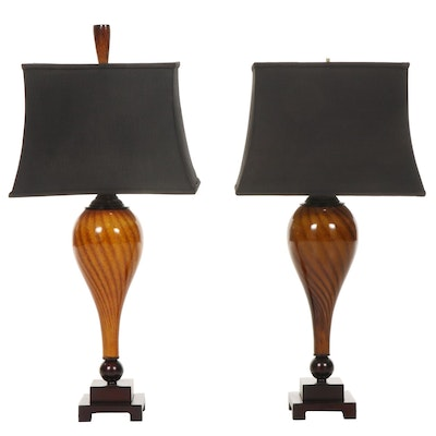 Pair of Handblown Glass Table Lamps