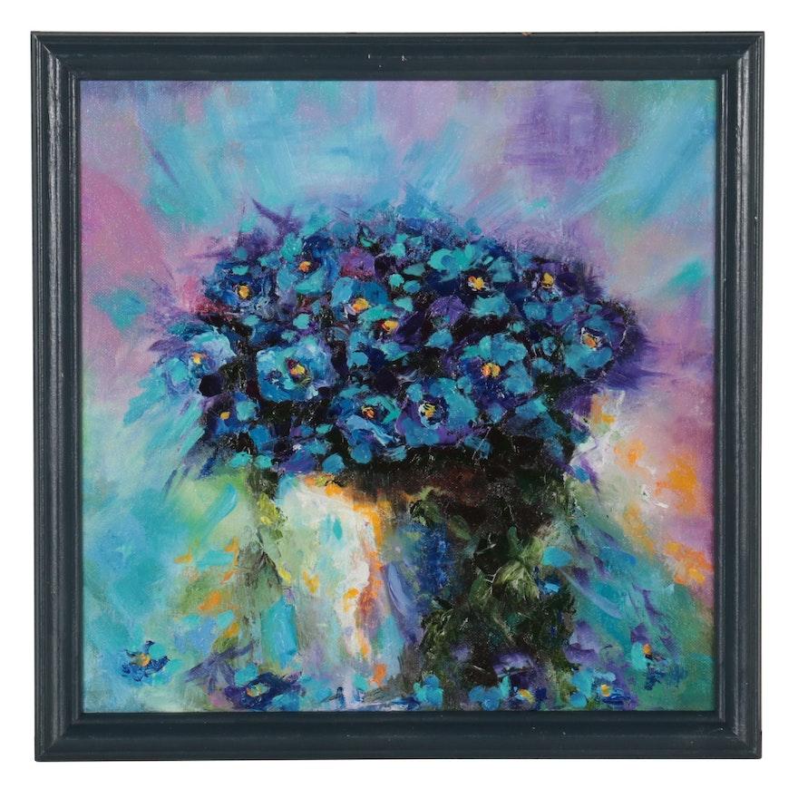 "Kate Ansolis Floral Oil Painting ""Blue Violets,"" 2021"
