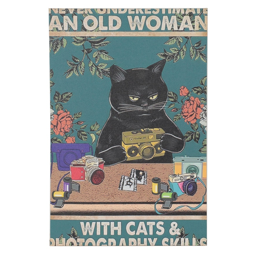 "Black Cat Giclée ""Never Underestimate an Old Woman..."""