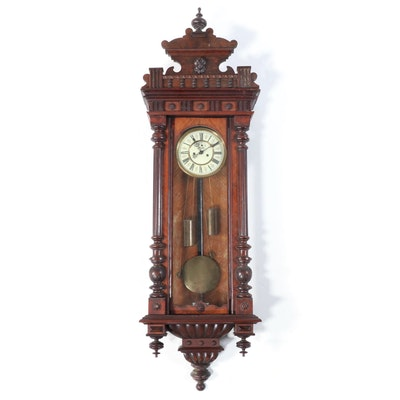Victorian Walnut Vienne Regulator Wall Clock, Late 19th Century