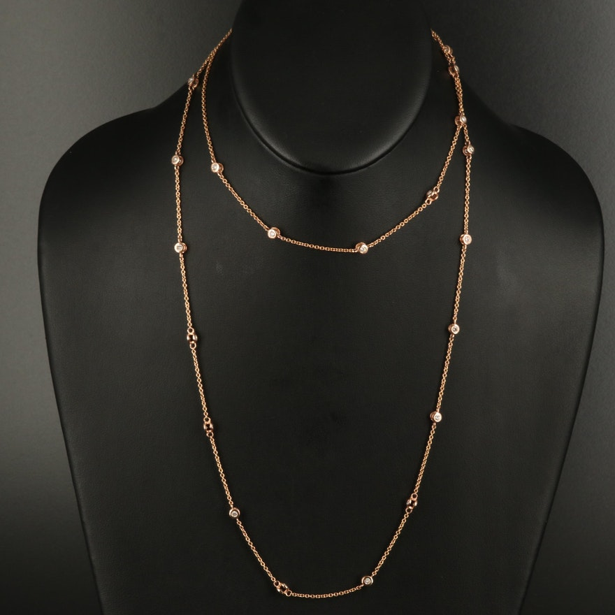 14K 2.04 CTW Diamond Station Necklace
