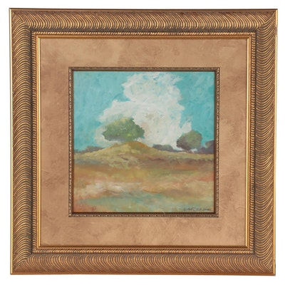 """Robert Riddle Baker Landscape Acrylic Painting """"The Old Mound,"""" 2021"""