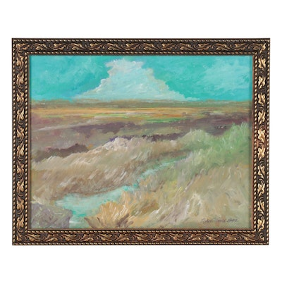 """Robert Riddle-Baker Landscape Acrylic Painting """"Fields and Vistas,"""" 2021"""