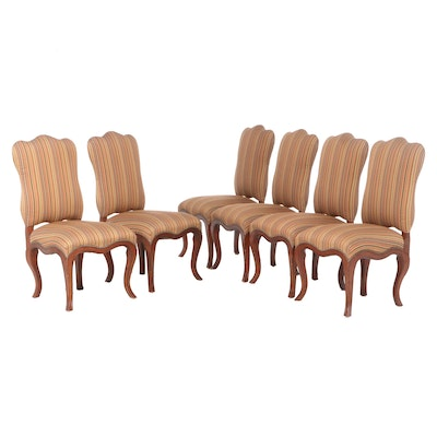 Six Queen Anne Style Upholstered Dining Side Chairs