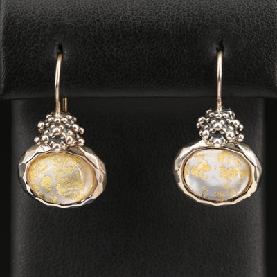 Michael Dawkins Sterling Mother of Pearl and Quartz Doublet Drop Earrings