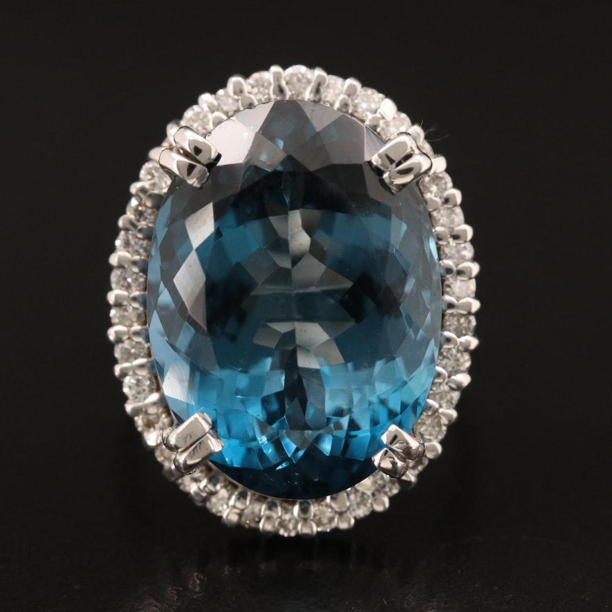 14K 20.75 CT London Blue Topaz and Diamond Halo Ring