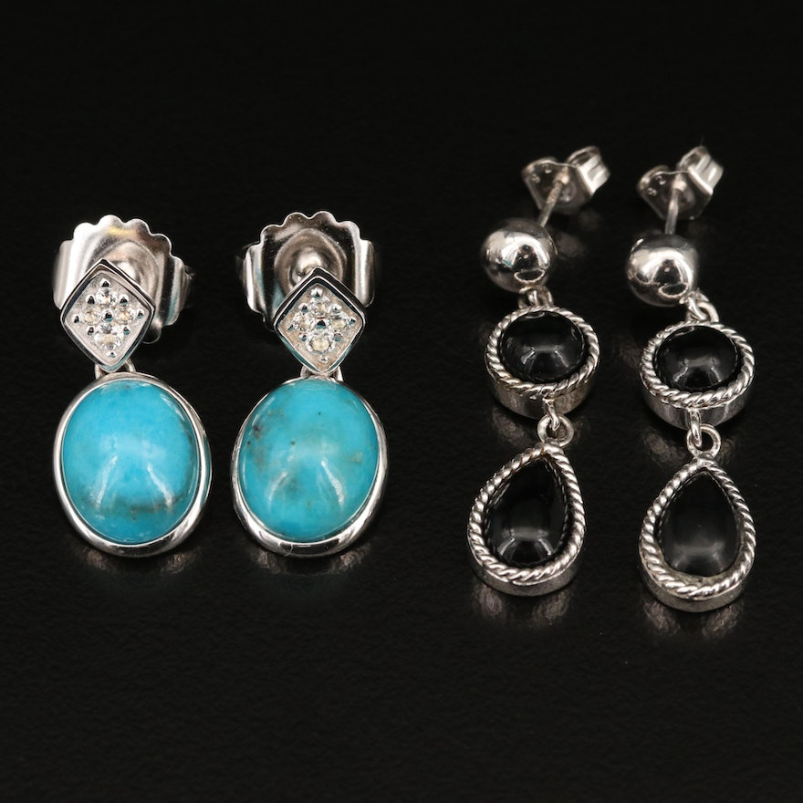 Sterling Turquoise, Black Onyx and Topaz Earrings
