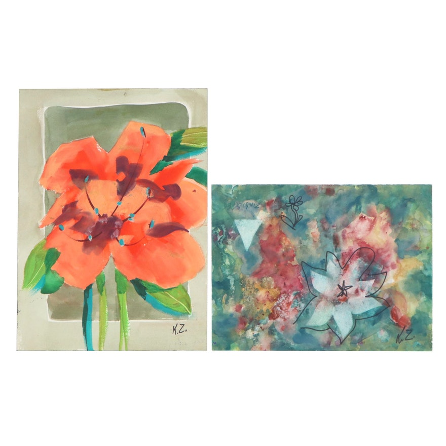 Kathleen Zimbicki Double-Sided Watercolor Paintings of Flowers and More