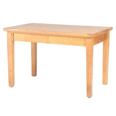 American Oak and Laminate Top Writing Table, Early to Mid 20th Century