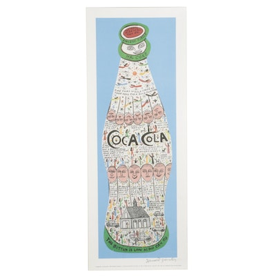 Howard Finster Offset Lithograph of Coca-Cola Bottle, Circa 1989