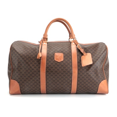 Celine Duffle Bag in Macadam Canvas and Leather Trim