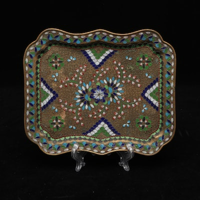 Russian Champelve Enamel on Brass Tray, Early to Mid 20th Century