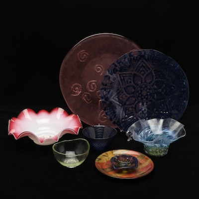 Gilmor and Others Art Glass Plates and Bowls