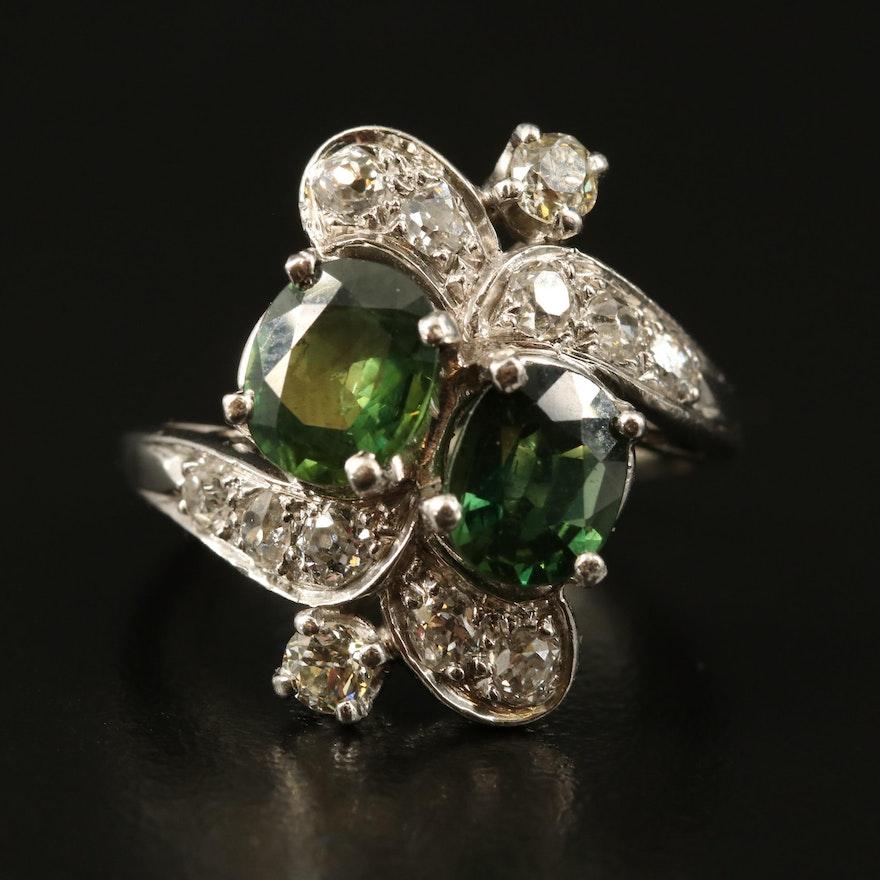 Platinum 2.19 CTW Sapphire and Diamond Ring