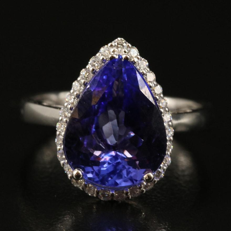 18K 4.40 CT Tanzanite and Diamond Halo Teardrop Ring