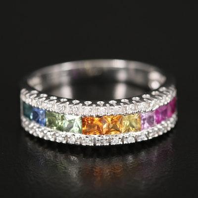EFFY 14K WHITE GOLD DIAMOND, NATURAL CEYLON SAPPHIRE, GREEN SAPPHIRE, PINK SAPPHIRE, YELLOW SAPPHIRE RING