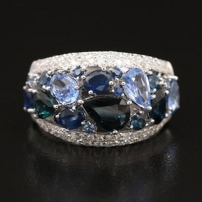 EFFY 14K WHITE GOLD DIAMOND, NATURAL CEYLON SAPPHIRE, NATURAL SAPPHIRE RING