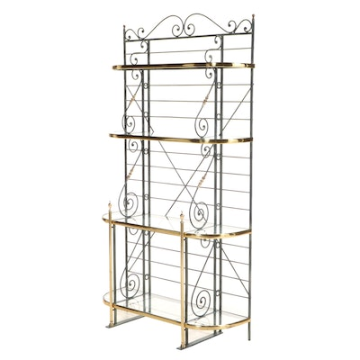Brass, Glass and Wrought Metal with Verdigris Finish Baker's Rack