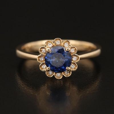 EFFY 14K YELLOW GOLD DIAMOND, NATURAL DIFFUSED CEYLON SAPPHIRE RING