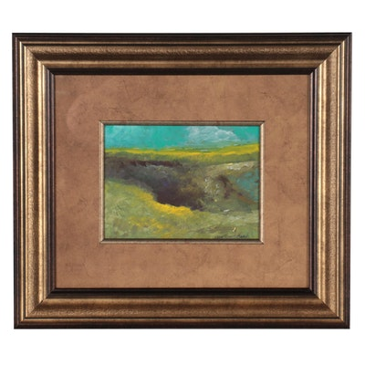"""Robert Riddle-Baker Landscape Acrylic Painting """"The Old Quarry,"""" 2021"""