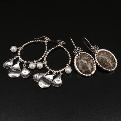 Michael Dawkins Sterling Jasper and Pearl Drop Earrings