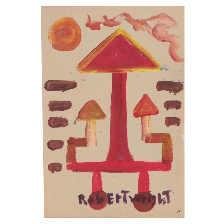 Robert Wright Folk Art Acrylic Painting, Late 20th Century