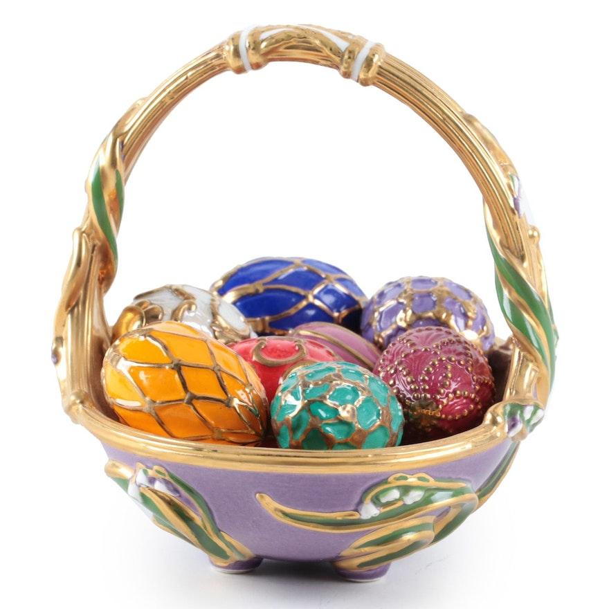 """The Franklin Mint """"Spring Egg Basket"""" Figurines"""