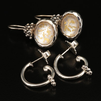 Sterling Silver Gemstone and Granulated Earrings Featuring Michael Dawkins