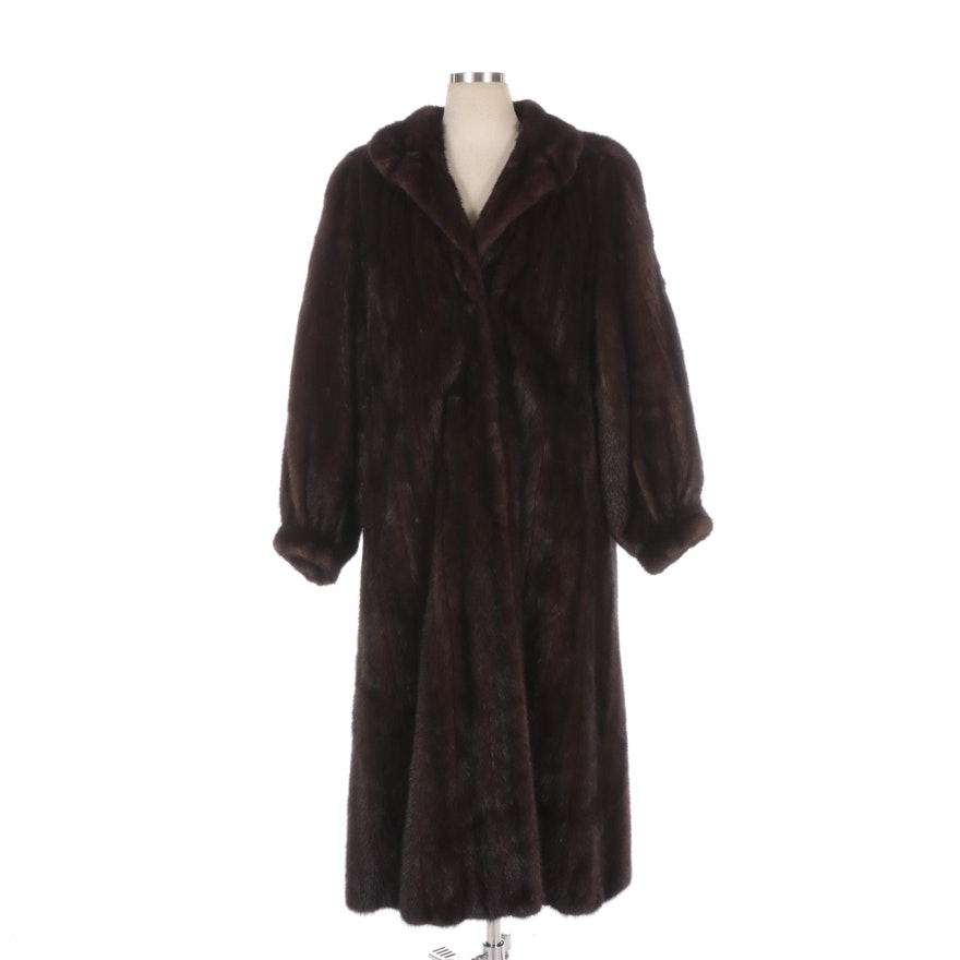 Mink Fur Full-Length Coat with Tapered Cuff Sleeves