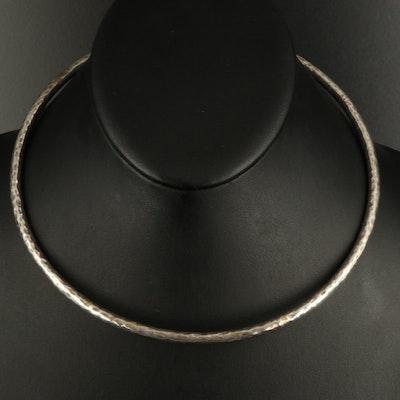 Sterling Hammered Torque Collar