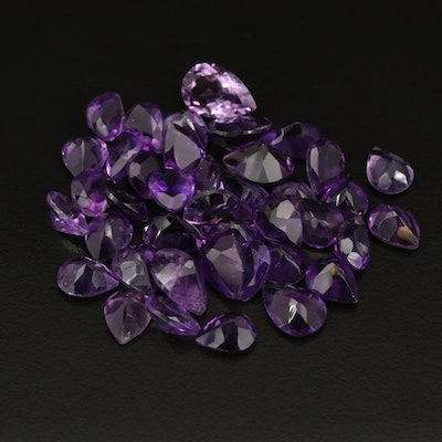 Loose 65.33 CTW Pear Faceted Amethyst