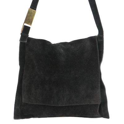 Gucci Front Flap Messenger Bag in Black Suede