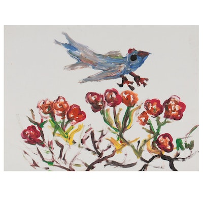 Robert Wright Folk Art Acrylic Painting of Bird and Red Blossoms