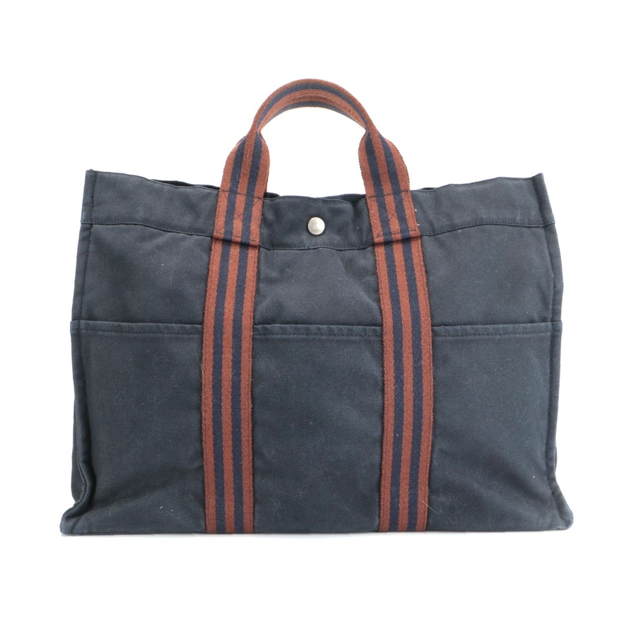 Hermès Fourre Tout GM in Navy and Rust Canvas