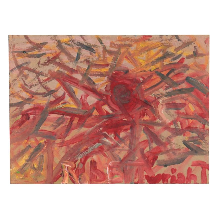 Robert Wright Folk Art Abstract Acrylic Painting, Circa 2000