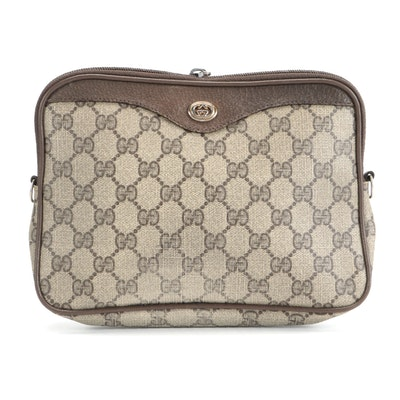 Gucci Accessory Collection Cosmetics Pouch in GG Supreme Canvas and Leather