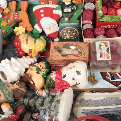 Avon and Other Christmas Ornaments, Figurines and Candles Set