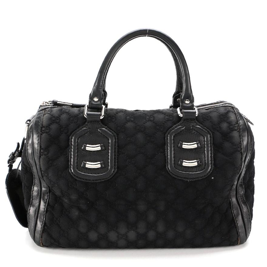 Gucci Black GG Neoprene and Leather Boston Bag
