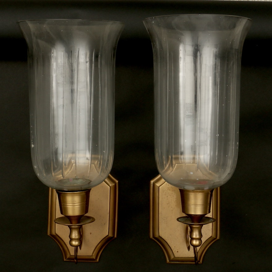Pair of Hurricane Glass and Brass Wall Candle Sconces