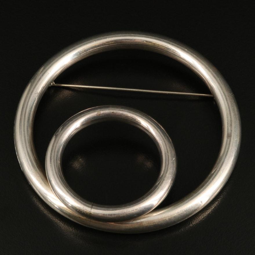 Sterling Circle Brooch