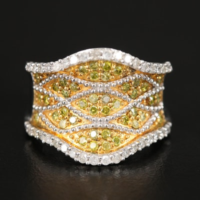 Sterling Diamond Crossover Saddle Ring