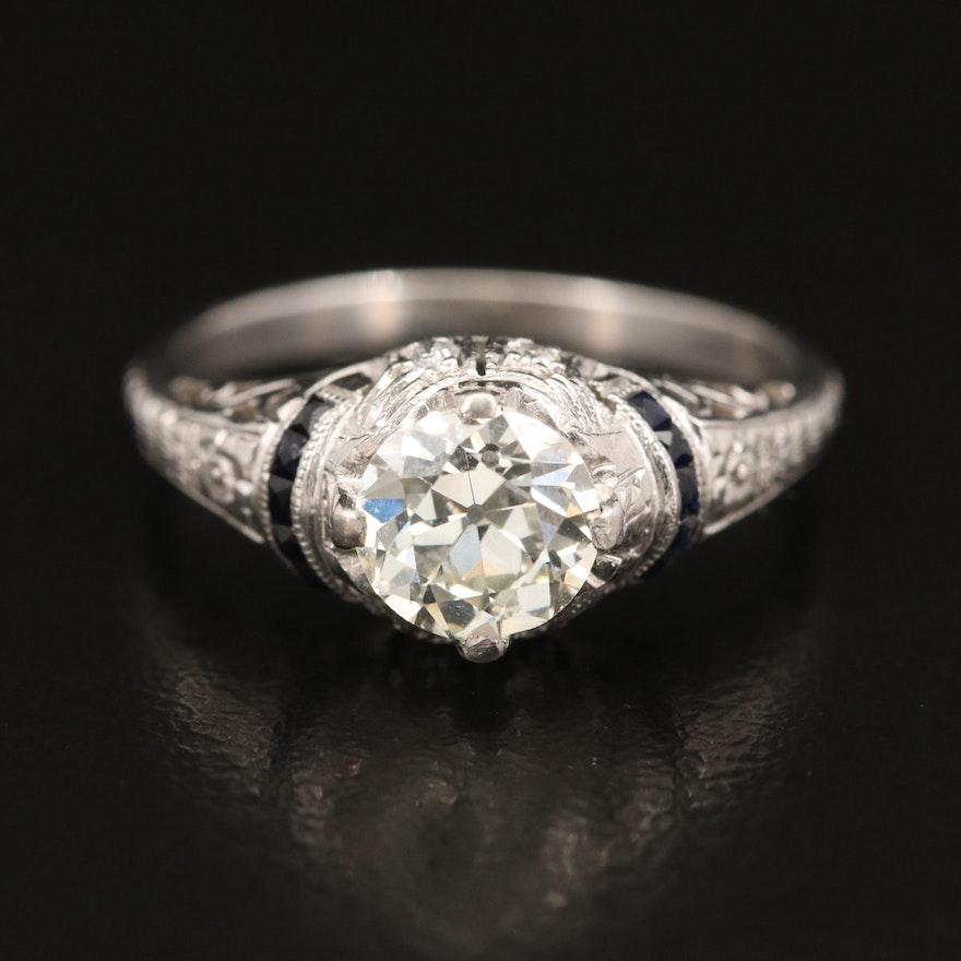 Art Deco Style Platinum 1.02 CTW Diamond and Sapphire Ring