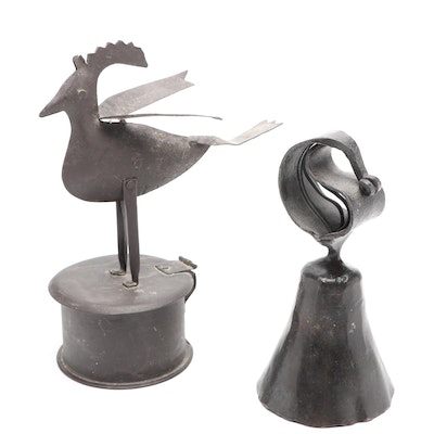 Oil Rubbed Folk Art Metal Bird Container and Bell
