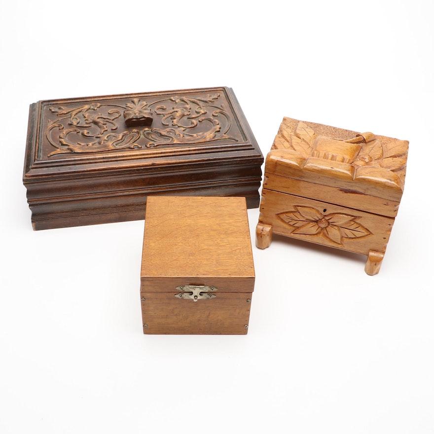 Carved Wooden Trinket Boxes
