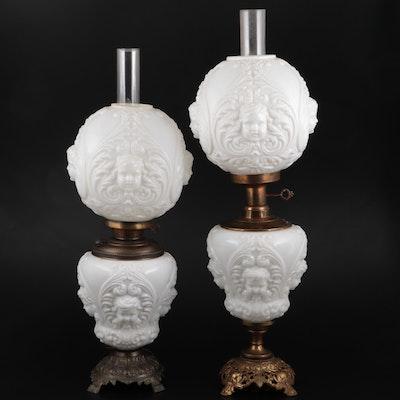 Neoclassical Pressed Milk Glass Parlor Lamps