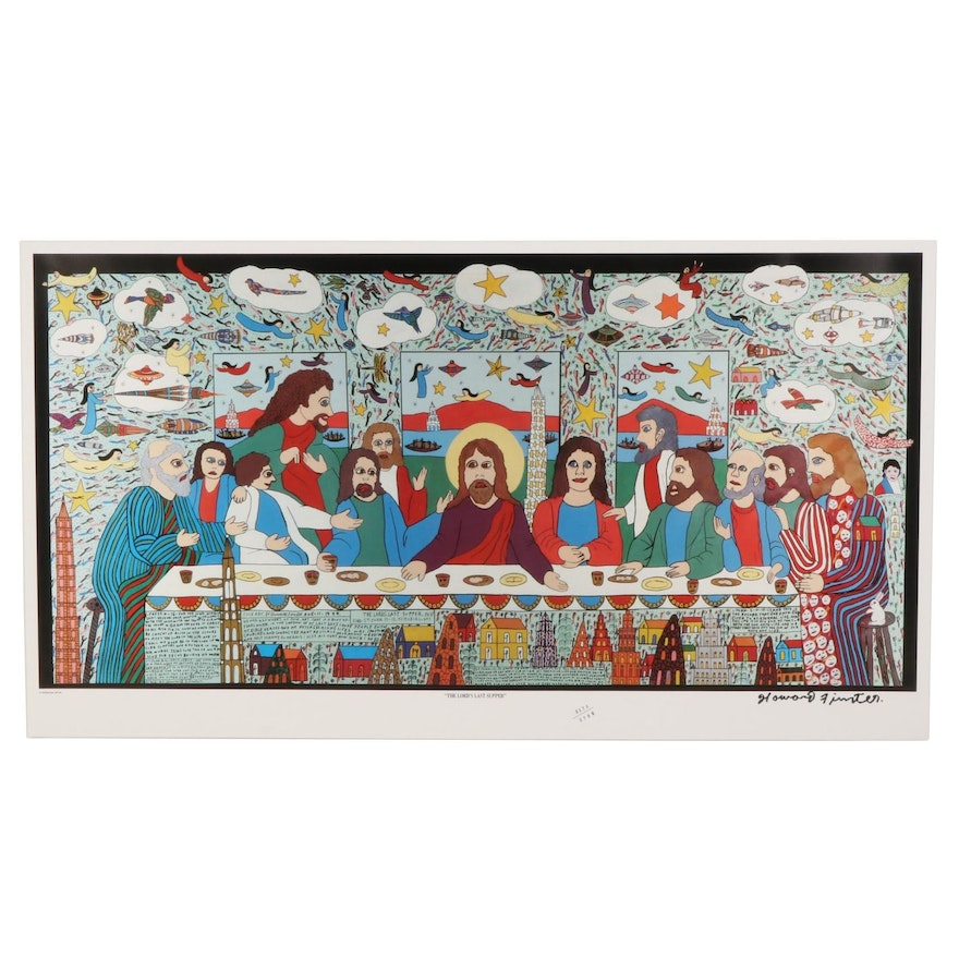 """Howard Finster Folk Art Offset Lithograph """"The Lord's Last Supper"""""""