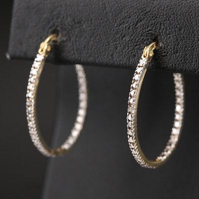 Diamond Oval Hoop Inside-Out Earrings