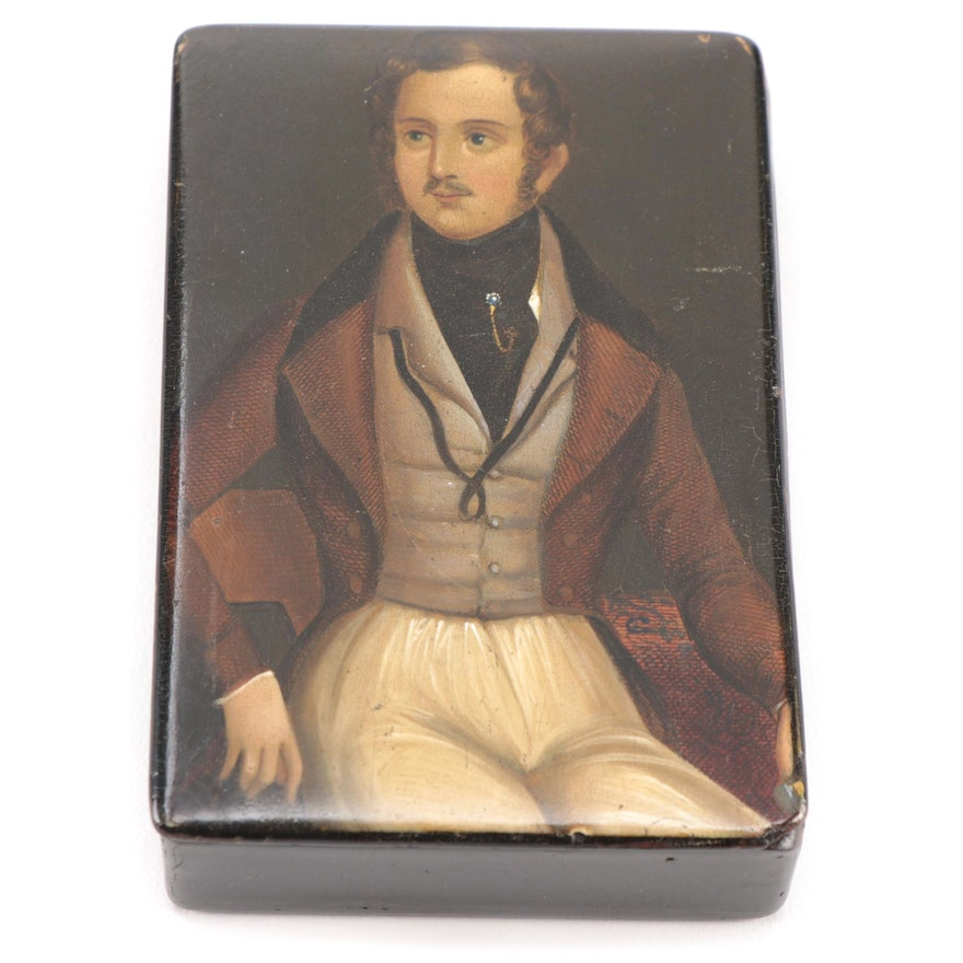 Lacquered Papier-Mâché Portrait Snuff Box, Early to Mid 19th Century